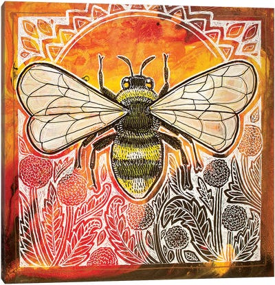Bumblebee And Dandelions Canvas Art Print
