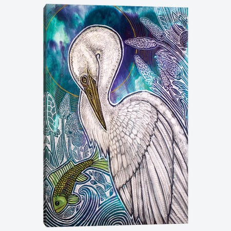 Great White Egret Canvas Print #LSH186} by Lynnette Shelley Art Print