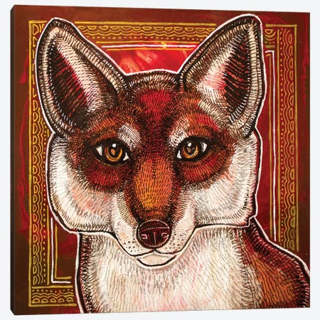Curious Fox Canvas Print #LSH197} by Lynnette Shelley Canvas Wall Art