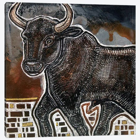 Black Bull Canvas Print #LSH210} by Lynnette Shelley Canvas Art