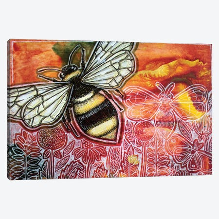 Busy Bee Canvas Print #LSH232} by Lynnette Shelley Canvas Wall Art