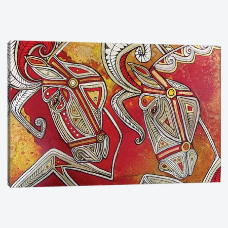Dancing Horses Canvas Print #LSH23} by Lynnette Shelley Art Print