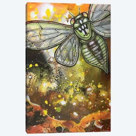 Departures - Green Cicada Canvas Print #LSH24} by Lynnette Shelley Canvas Artwork
