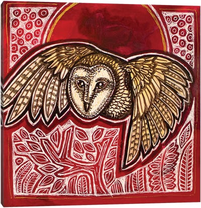 Owl And Red Moon Canvas Art Print