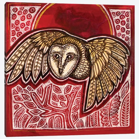 Owl And Red Moon Canvas Print #LSH259} by Lynnette Shelley Canvas Wall Art
