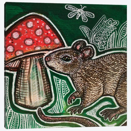 Small Mouse And Mushroom Canvas Print #LSH265} by Lynnette Shelley Canvas Artwork