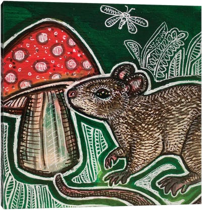 Small Mouse And Mushroom Canvas Art Print