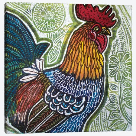 Garden Rooster Canvas Print #LSH268} by Lynnette Shelley Canvas Print