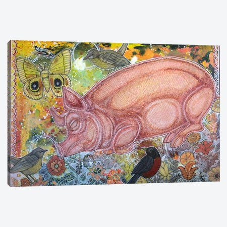 Dreaming Pig Canvas Print #LSH26} by Lynnette Shelley Canvas Artwork