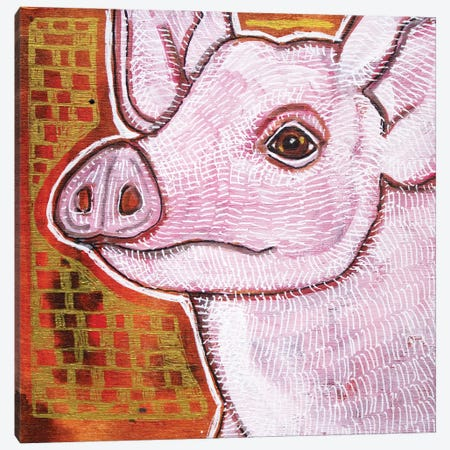 Pink Pig Canvas Print #LSH271} by Lynnette Shelley Canvas Artwork