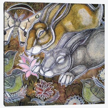 Dreaming Rabbits Canvas Print #LSH27} by Lynnette Shelley Canvas Artwork