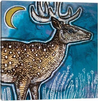 Deer And Moon Canvas Art Print