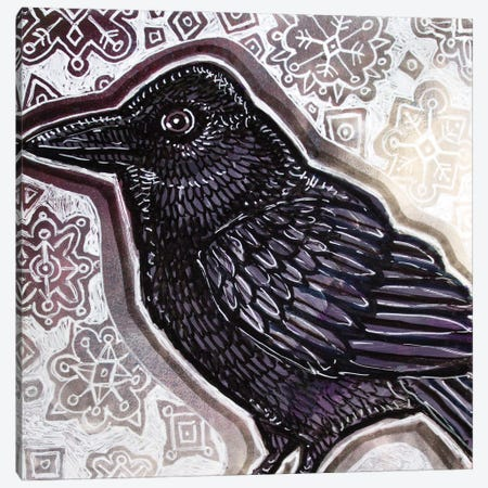 Crow In Winter Canvas Print #LSH299} by Lynnette Shelley Canvas Art