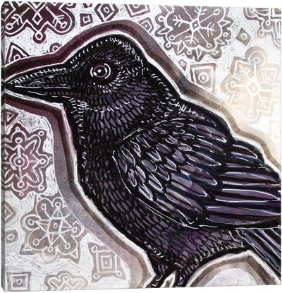 Crow In Winter Canvas Art Print