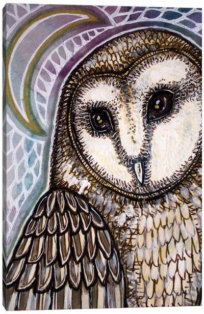 Crescent Moon And Owl Canvas Art Print