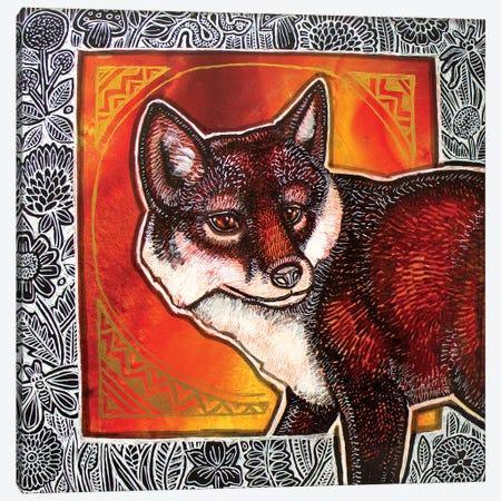 Fox In The Flowers Canvas Print #LSH314} by Lynnette Shelley Canvas Wall Art