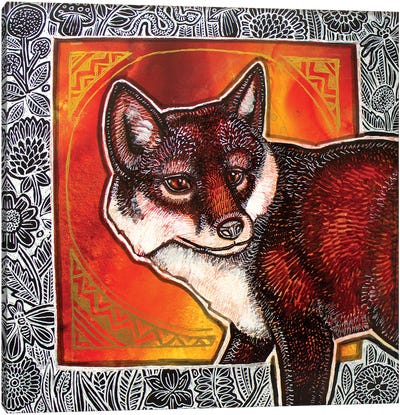 Fox In The Flowers Canvas Art Print