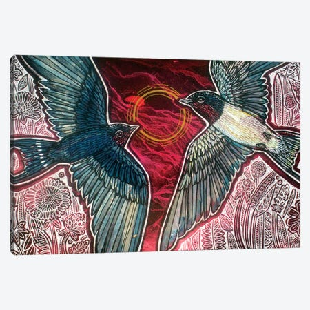 Confluence (Barn Swallows) Canvas Print #LSH345} by Lynnette Shelley Art Print