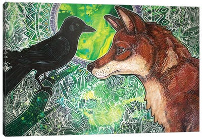 Fox And Crow Canvas Art Print