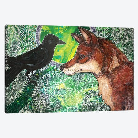Fox And Crow Canvas Print #LSH34} by Lynnette Shelley Canvas Print