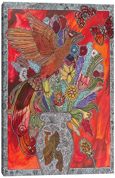 From Feather To Flame, And Birth To Bloom Canvas Art Print