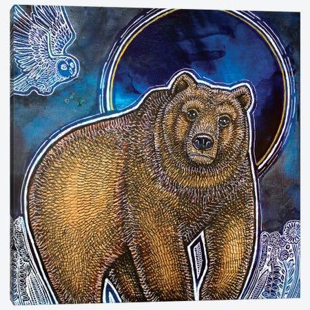 Bear And Blue Moon Canvas Print #LSH357} by Lynnette Shelley Canvas Art