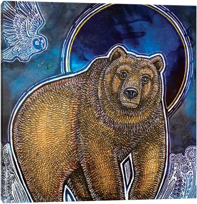 Bear And Blue Moon Canvas Art Print
