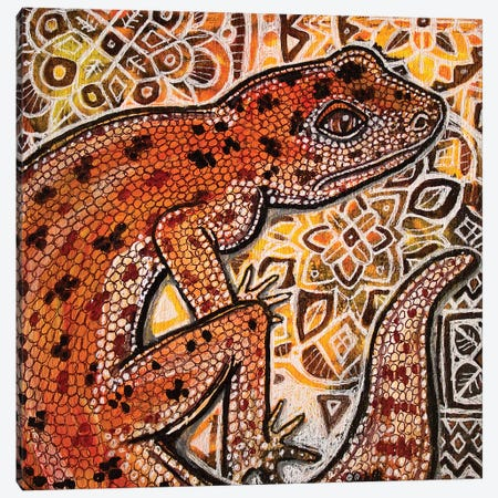 Gecko On Ornamental Canvas Print #LSH35} by Lynnette Shelley Canvas Print