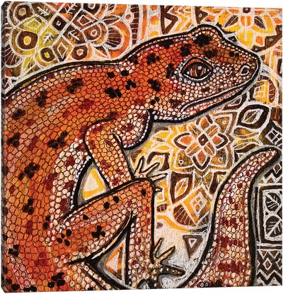 Gecko On Ornamental Canvas Art Print