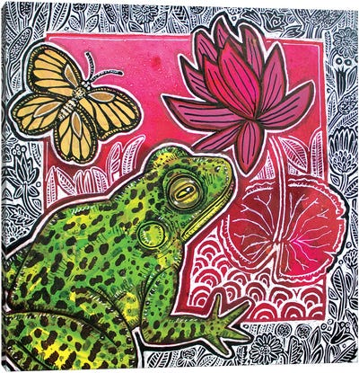 Frog And Lily Canvas Art Print