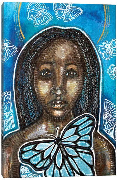 On Blue Wings Canvas Art Print