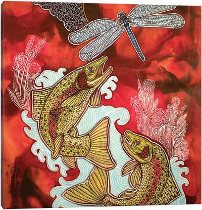 Red Sky, Leaping Trout Canvas Art Print