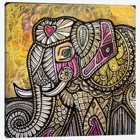 Gold Sky Elephant Canvas Print #LSH38} by Lynnette Shelley Canvas Art