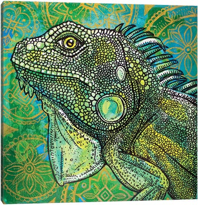 Iguana On Green And Gold Canvas Art Print