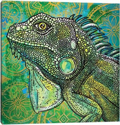 Iguana On Green And Gold Canvas Art Print