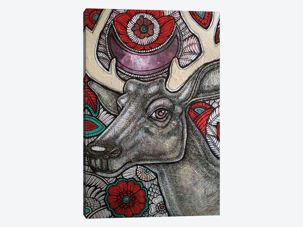 Stag And Rose by Lynnette Shelley 1-piece Canvas Artwork