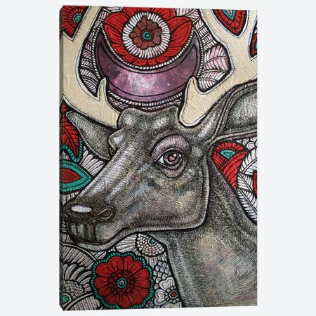 Stag And Rose Canvas Print #LSH87} by Lynnette Shelley Canvas Wall Art