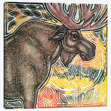 Standing Moose Canvas Print #LSH88} by Lynnette Shelley Canvas Art Print