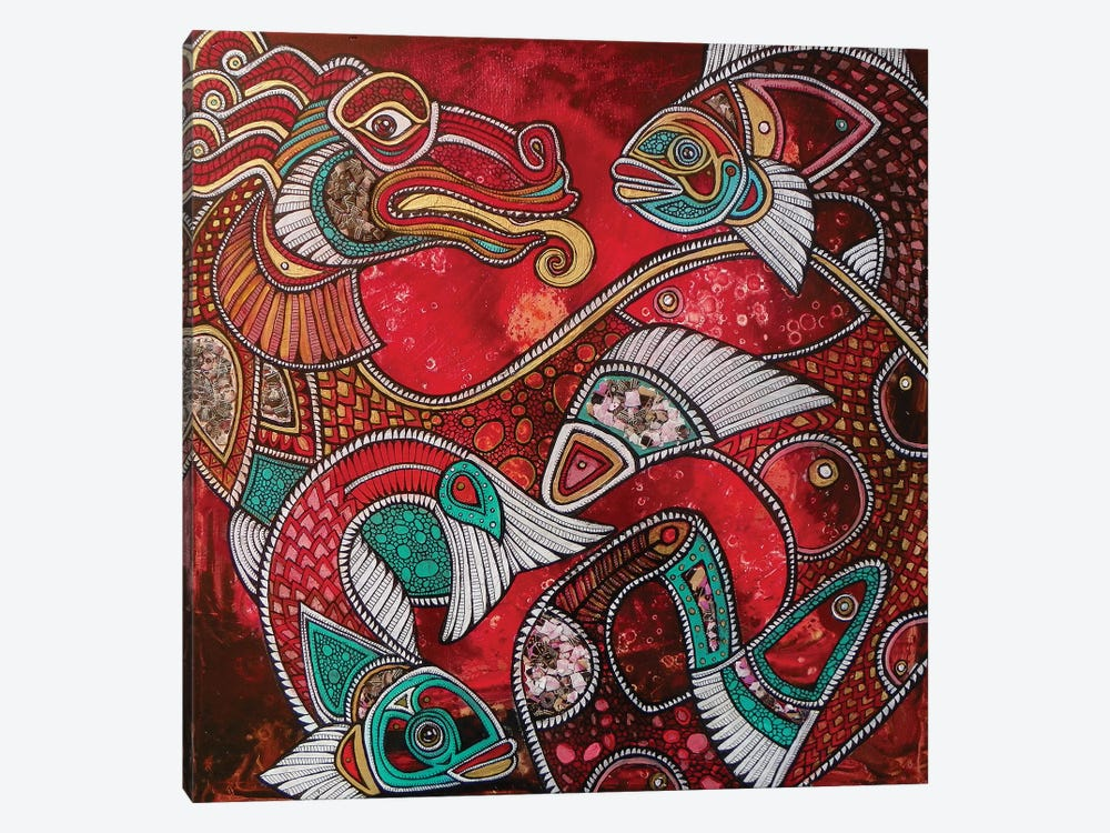 Swimming With Fire - The Koi Dragon by Lynnette Shelley 1-piece Canvas Wall Art