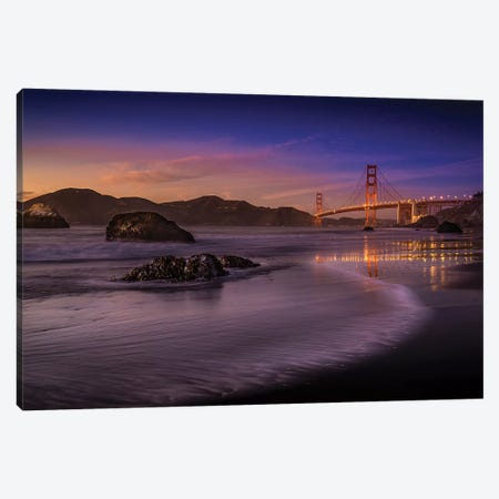 Golden Gate Bridge Fading Daylight Canvas Print #LSK1} by Mike Leske Canvas Art Print