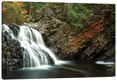 Waterfall In Autumn, Nova Scotia, Canada - Horizontal Canvas Art Print