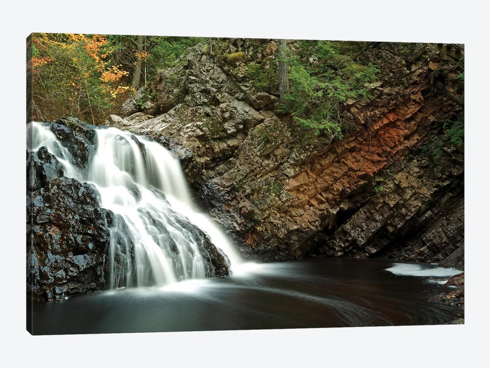 Waterfall In Autumn, Nova Scotia, Canada - Horizontal by Scott Leslie 1-piece Canvas Wall Art