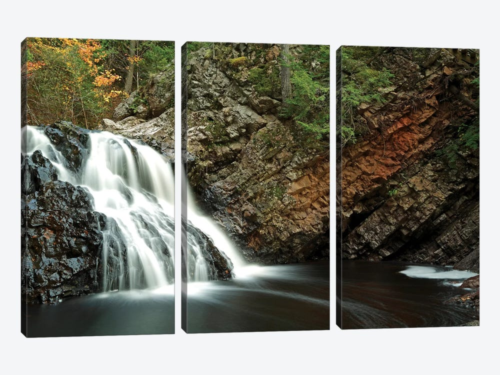 Waterfall In Autumn, Nova Scotia, Canada - Horizontal by Scott Leslie 3-piece Canvas Wall Art