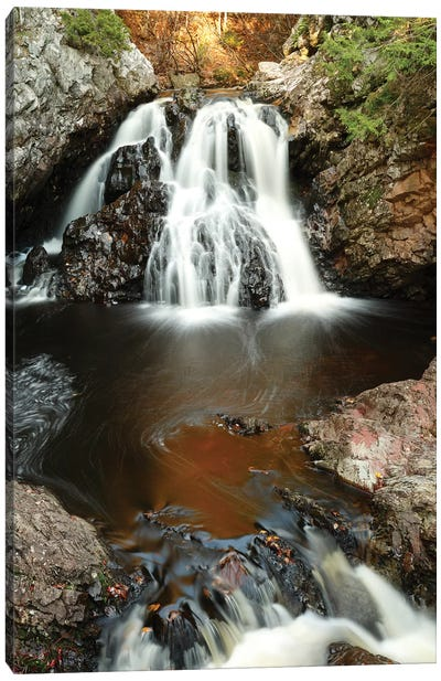 Waterfall In Autumn, Nova Scotia, Canada - Vertical Canvas Art Print