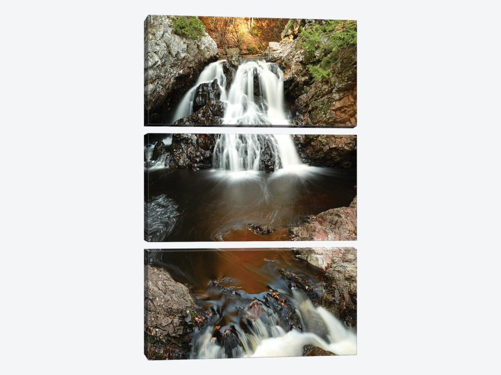 Waterfall In Autumn, Nova Scotia, Canada - Vertical by Scott Leslie 3-piece Canvas Art Print