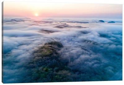 Low-Lying Fog Along Coast, Newfoundland, Canada Canvas Art Print