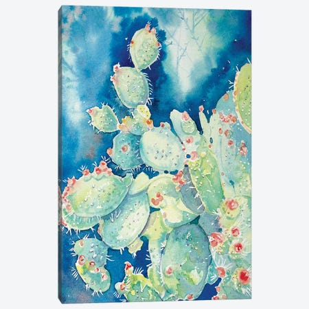 Topanga Prickly Pear Cactus Canvas Print #LSM122} by Luisa Millicent Canvas Wall Art