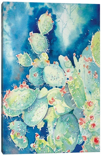 Topanga Prickly Pear Cactus Canvas Art Print