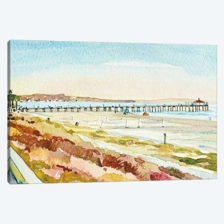 Manhattan Beach Pier At Dusk Canvas Print #LSM125} by Luisa Millicent Art Print