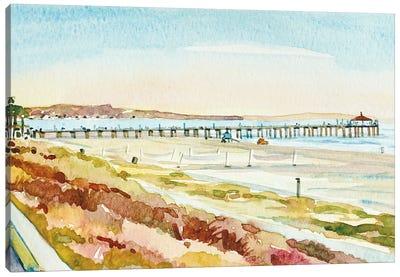 Manhattan Beach Pier At Dusk Canvas Art Print